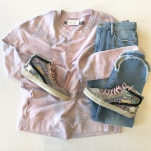 Raquel Allegra Oversized Sweatshirt, Lavender Tie-Dye