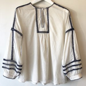 Sea Izzy Pauline Longsleeve Blouse, Milk with Navy Stitching