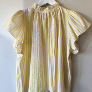 Birds of Paradise Carla High-Neck Blouse, Yellow Stripe