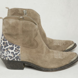 Golden Goose Young Boots, Tobacco Suede with Ice Leopard