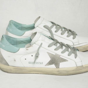 Golden Goose Sneakers Superstar, White Leather with Fresh Mint Cream Sole