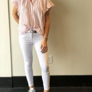 Birds of Paradis Marianne Ruffle Sleeve Shirt, Pink Stripe