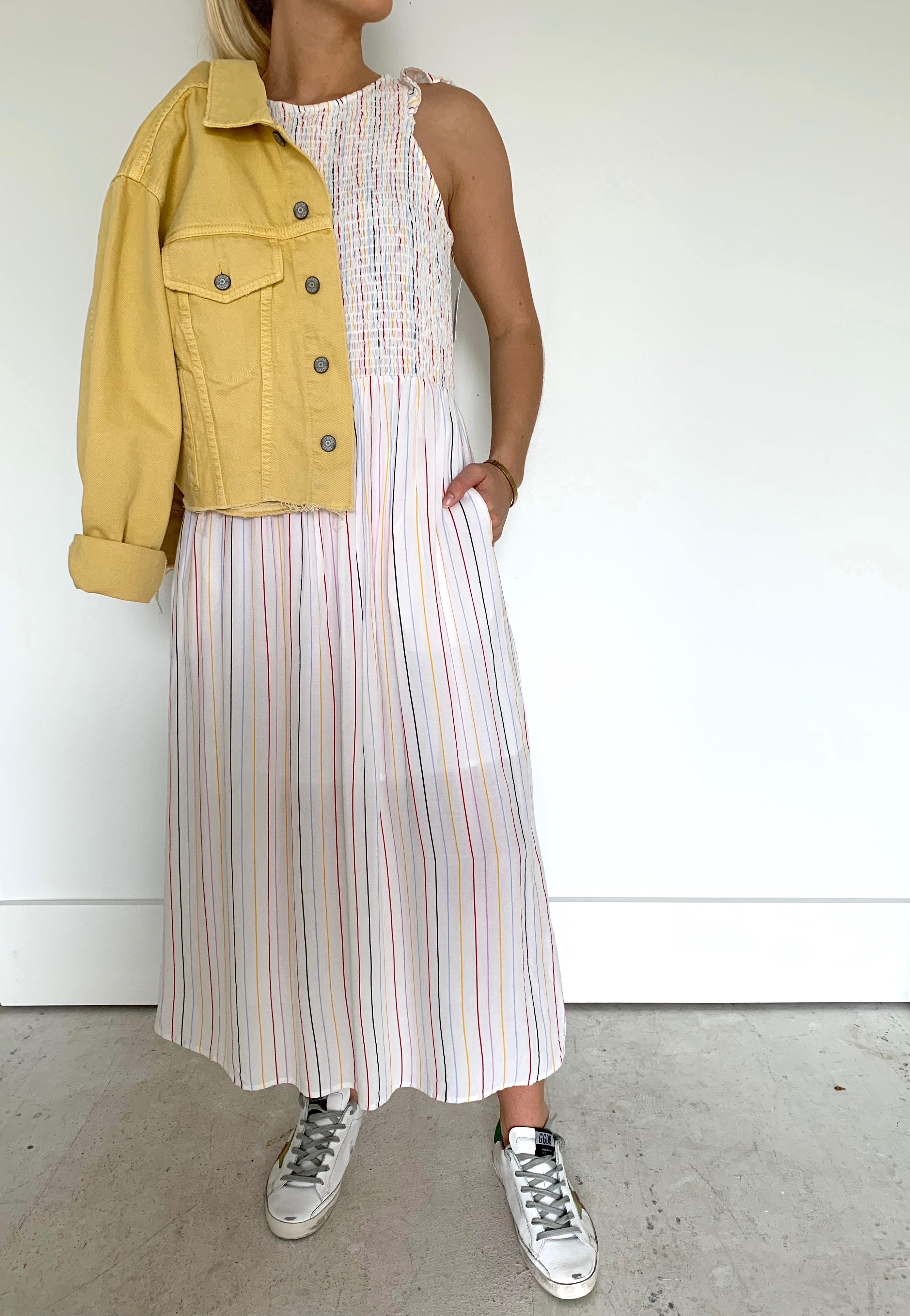 b46cc1e911 English Factory Smocked Stripe Midi Dress, White/Multi | Aria Online