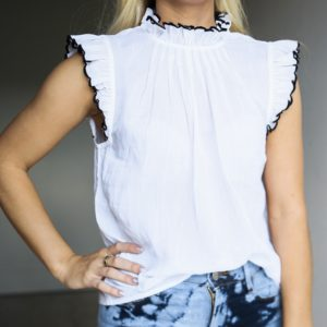 Frame Tipped Top, Blanc