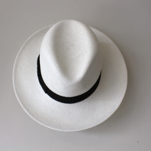 Hat Attack Panama Continental Hat, Bleach with Black Ribbon