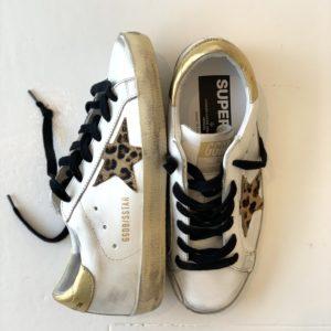 Golden Goose Superstar Sneaker, White Leather- Gold-Leopard Star
