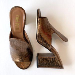 Paris Texas Metallic Snake Mule 80mm Heel, Bronze