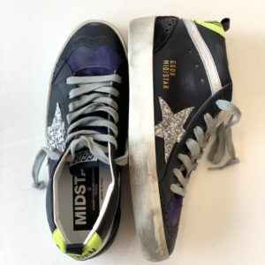 Golden Goose Sneakers Mid Star Black Leather-Silver Glitter Star