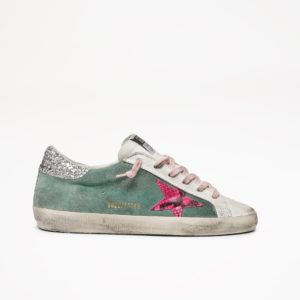 PREORDER Golden Goose Sneakers Superstar, Green Leather/Printed Fuxia Python Star