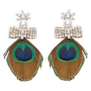 Mignonne Gavigan Peacock Lux Earrings, Blue Green
