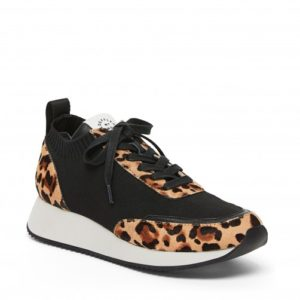 Loeffler Randall Remi Lace Up Sneakers, Black/Leo
