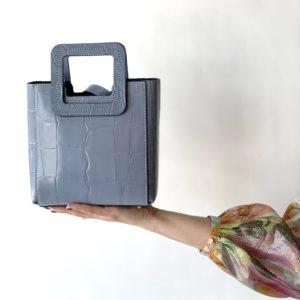 STAUD Mini Shirley Leather Bag, Light Blue