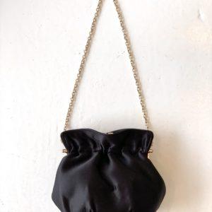 Satin Framed Pouch, Black