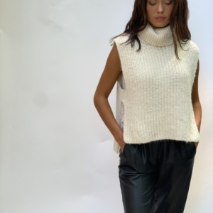 Ivory Sleeveless Roll Neck Sweater